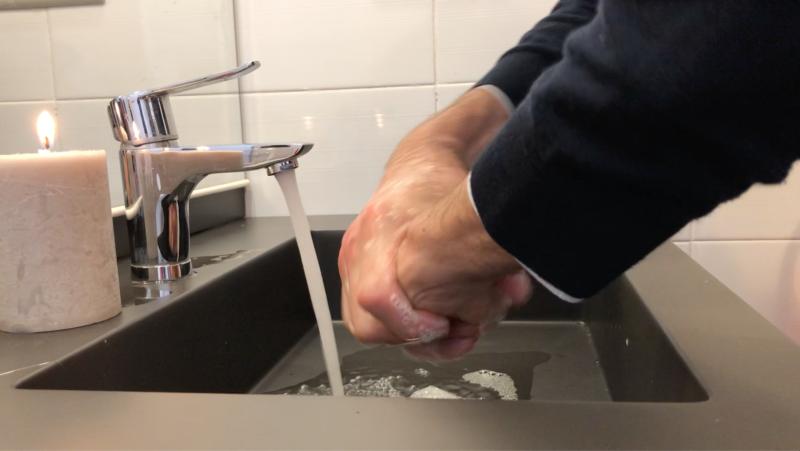 Handwashing. Urban washbasin